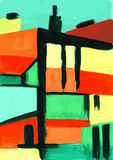 Cityscape. Abstract modern urban scene painting Royalty Free Stock Image