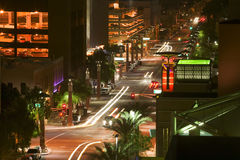 Cityscape. Street lights from the downtown nightlife Stock Image