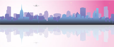 Cityscape. Vector illustration of buildings reflection Royalty Free Stock Photos