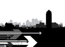 Cityscape with abstract arrows Royalty Free Stock Images