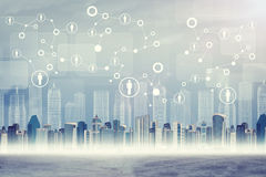 Cityscape on abstract virtual background Stock Photo
