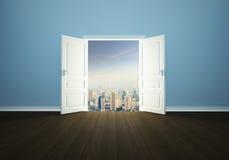 Cityscape achter de deur Royalty-vrije Stock Fotografie