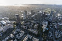 Los Angeles California Century City Aerial. Cityscape aerial view of Century City with West Los Angeles and Santa Monica California in background Royalty Free Stock Photography