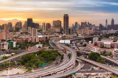 Cityscape aerial view with main express way intersection Royalty Free Stock Image