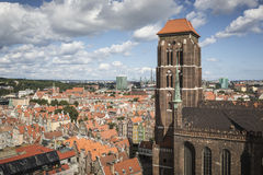 Cityscape aerial view on the old town with saint Marys church on Royalty Free Stock Photography