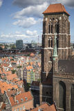 Cityscape aerial view on the old town with saint Marys church on Stock Image