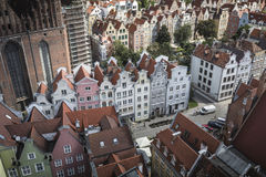 Cityscape aerial view on the old town with saint Marys church on Royalty Free Stock Photo
