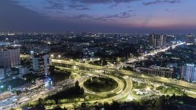 Cityscape aerial view timelapse at night bangkok, Busy traffic across main road at rush hour thailand. Asia stock video