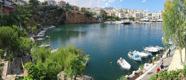 Cityscape of Agios Nikolaos with its Lake Voulismeni and harbor Stock Images