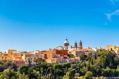 Cityscape Of Aguimes, Gran Canaria, Spain. Cityscape Of Aguimes With Landmark Of Parish Church of San Sebastian - Aguimes, Gran Canaria, Canary Island, Spain royalty free stock image