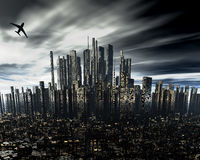 Cityscape with airliner silhouette Stock Photo