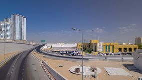 Cityscape of Ajman from bridge at day timelapse. hyperlapse Ajman is the capital of the emirate of Ajman in the United Arab Emirat. Cityscape of Ajman with royalty free stock photo
