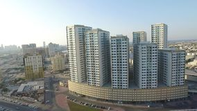 Cityscape of Ajman with modern buildings aerial top view stock video footage