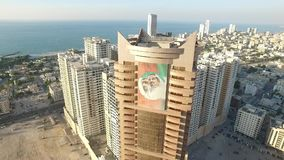 Cityscape of Ajman with modern buildings aerial top view