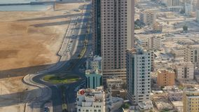 Cityscape of Ajman from rooftop morning after sunrise timelapse. Ajman is the capital of the emirate of Ajman in the United Arab E. Cityscape of Ajman with old stock photos