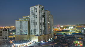 Cityscape of Ajman from rooftop day to night timelapse. Ajman is the capital of the emirate of Ajman in the United Arab stock video