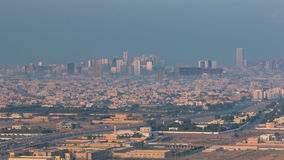 Cityscape of Ajman from rooftop early morning timelapse. Ajman is the capital of the emirate of Ajman in the United Arab stock video footage