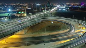 Cityscape of Ajman from rooftop at night timelapse. Ajman is the capital of the emirate of Ajman in the United Arab Emirates. Cityscape of Ajman with traffic on royalty free stock photography
