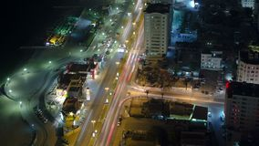 Cityscape of Ajman from rooftop at night timelapse. Ajman is the capital of the emirate of Ajman in the United Arab Emirates. Cityscape of Ajman with traffic on stock images