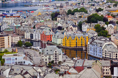 Cityscape of Alesund Norway Stock Photo