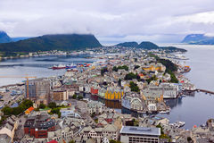 Cityscape of Alesund Norway Stock Photography