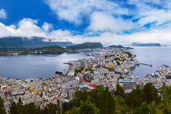 Cityscape of Alesund Norway Royalty Free Stock Image