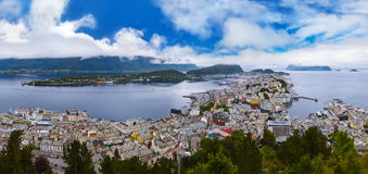Cityscape of Alesund Norway Stock Images