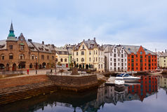 Cityscape of Alesund Norway at sunset Royalty Free Stock Photos