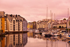 Cityscape of Alesund Norway at sunset Stock Images
