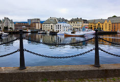 Cityscape of Alesund Norway at sunset Stock Photos