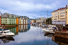 Cityscape of Alesund Norway at sunset Royalty Free Stock Images
