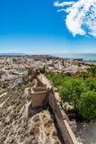 Cityscape of Almeria with the walls of Alcazaba (Castle). Vertical, Spain Royalty Free Stock Photos