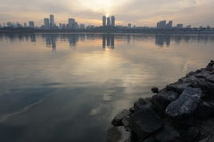 Cityscape along Han river in Seoul at dusk Royalty Free Stock Images