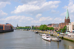Cityscape along the Weser river in Bremen, Germany Stock Images