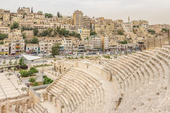 Cityscape of Amman, capital of Jordan, with  the Roman Amphithea Royalty Free Stock Image