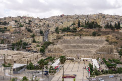 Cityscape of Amman downtown with Roman amphitheatre from citadel Stock Photos
