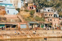 Cityscape of ancient river ghat and rustic indian houses of Chitrakoot Stock Photos