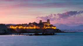 Cityscape of Antibes at sunset Stock Photos