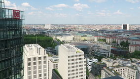 Cityscape around the Potsdamer Platz. high angle view over City with Brandenburger To. BERLIN, BERLIN/ GERMANY MAY 09 2016: Cityscape around the Potsdamer Platz stock video