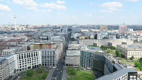 Cityscape around the Potsdamer Platz. high angle view over City with mall of berlin and leipziger strasse. BERLIN, BERLIN/ GERMANY MAY 09 2016: Cityscape around stock video footage