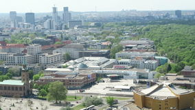 Cityscape around the Potsdamer Platz. high angle view over City with tiergarten and city west district. BERLIN, BERLIN/ GERMANY MAY 09 2016: Cityscape around stock footage