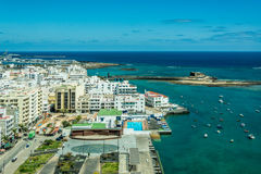 Cityscape of Arrecife, the capital city of Lanzarote island Stock Images
