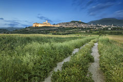 Cityscape of Assisi in Italy Umbira at late evening Royalty Free Stock Photos