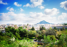 Cityscape of Athens with Lycabettus Hill Royalty Free Stock Photos