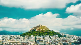 Cityscape of Athens and Lycabettus Hill stock video