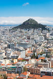 Cityscape of Athens with Lycabettus Hill Royalty Free Stock Photo