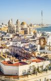 Cityscape by the Atlantic Ocean with famous Cathedral of Cadiz, royalty free stock photo