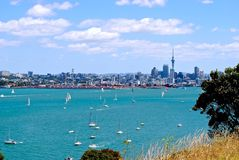 Cityscape of Auckland, New Zealand. Panoramic view of Auckland with sailboats Stock Photo