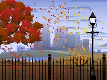 Cityscape autumn park Stock Photo