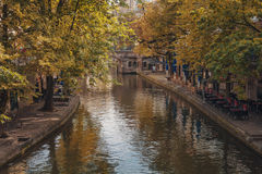 Cityscape in the autumn setting. Calm beautiful autumn colors in Utrecht Stock Photos